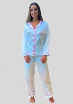 Pijama Feminino Manga Longa em Cetim - AE21